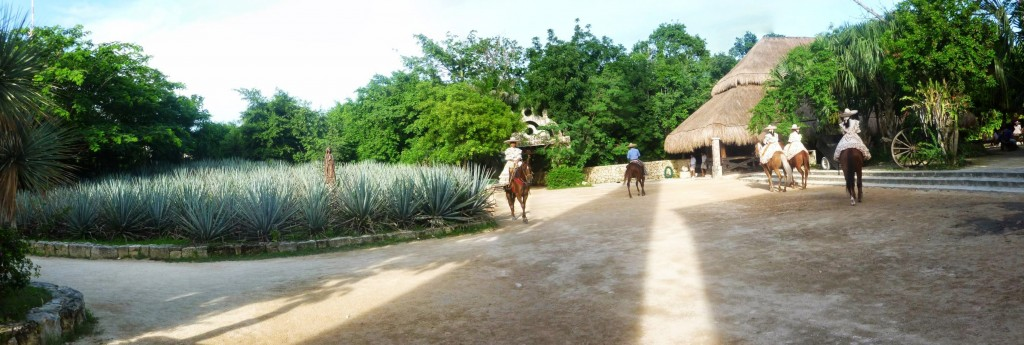 Equestrians and agave at Xcaret natural and cultural park
