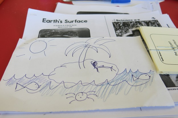 I asked them to draw a picture of someplace on Earth and then use their Science vocabulary words to tell me about it. I decided to draw a picture too. They laughed at me.