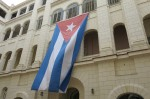 The Cuban flag flying in the Revolution Museum.