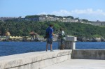 Fishing across from El Morro Castle at the entrance to Havana Harbor.