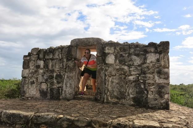 Deidre in arch at Ek Balam