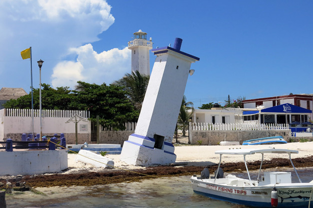 An iconic image of Puerto Morelos, the original lighthouse was knocked over in a hurricane years ago