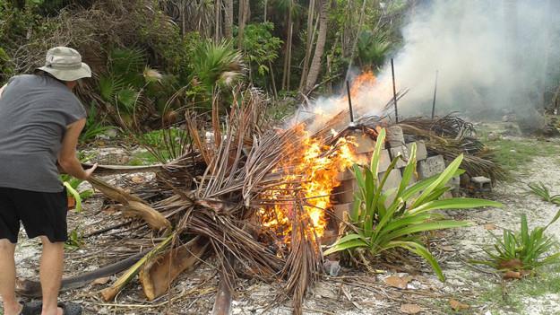 Trash burning in Xcalak