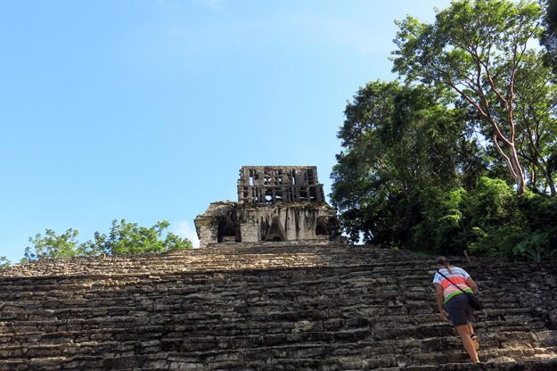 Climbing the stairs at Palenque