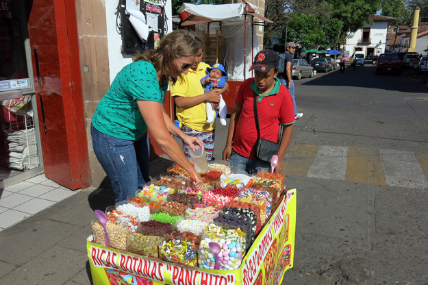 Buying candy on the streets of Patzcuaro