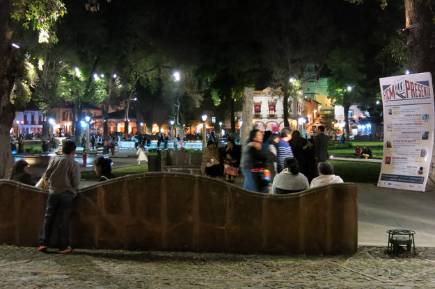 There are just as many people, if not more, hanging out in the square at night.