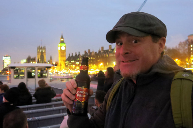 Drinking beer on the Thames