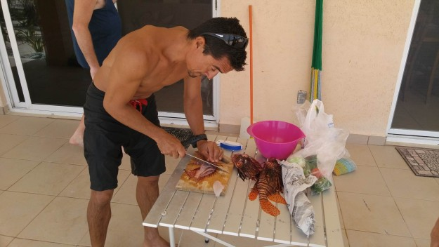 Our guide Luis is not only an expert lionfish hunter, he's also an expert lionfish cleaner.