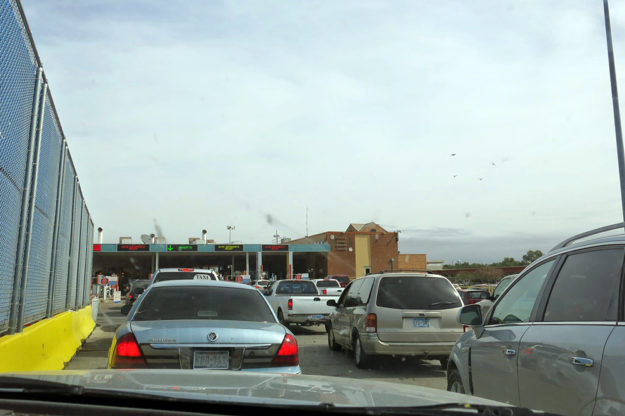 U.S. to Mexico border crossing.
