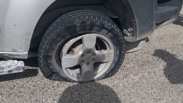 Flat tire in Mexico.