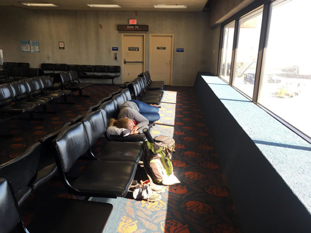 Sleeping in Maui airport