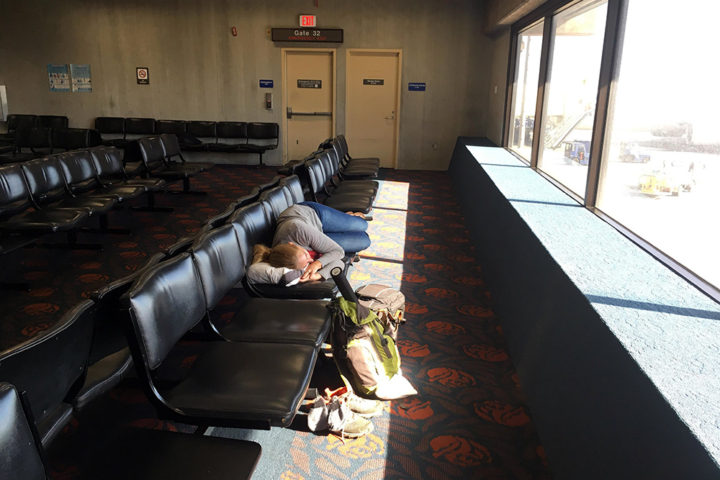 Sleeping in Maui airport
